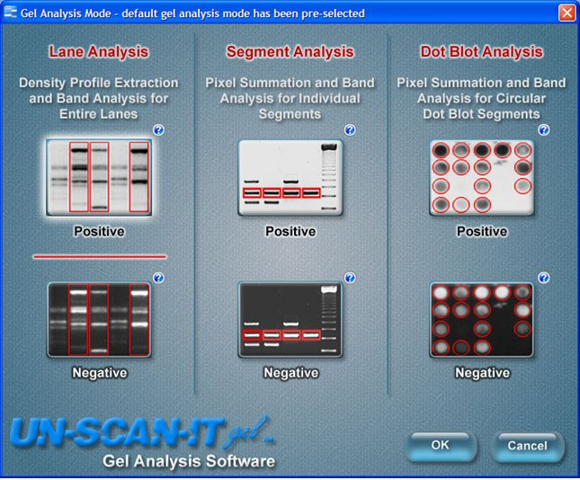 Figure 2. Select the Gel Analysis Mode.